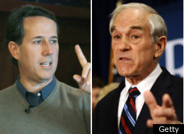 "Santorum tells person to ""vote for Ron Paul."""